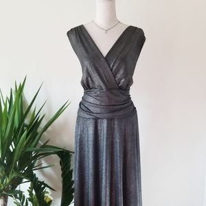 Lane Bryant Metallic Fit and Flare Faux Wrap Dress